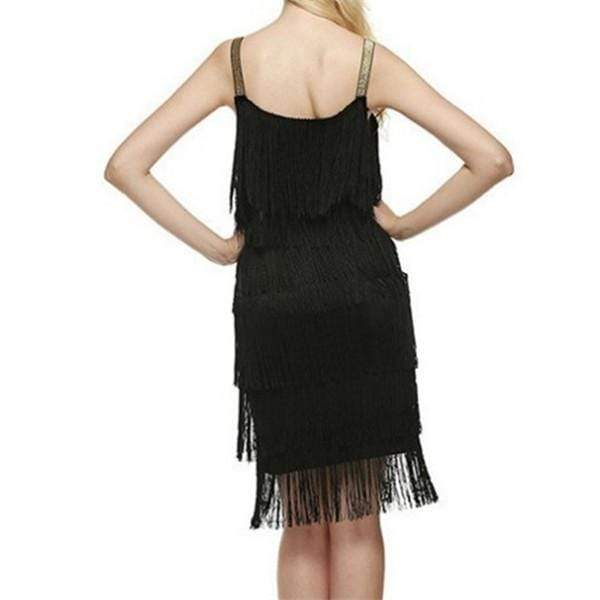 Fashion Stitching Fringed Sling Mini Dresses