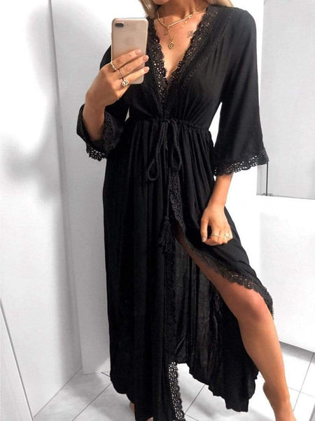 Casual V Neck Lace Hollow Out See-Through Splicing Belted Dress
