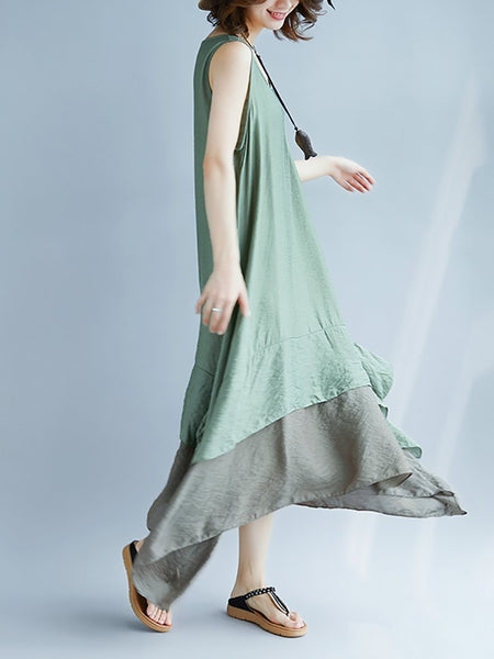 Casual Contrast Color Round Neck Sleeveless Pleated Dress