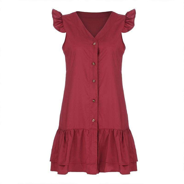 Stylish Pure Color Sexy V-Neck Flounces Dress