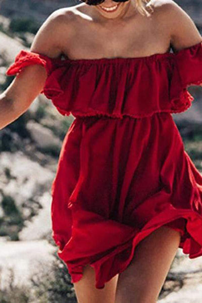 Elegant Boat Neck Ruffled Off-Shoulder Bare Back Splicing Dress