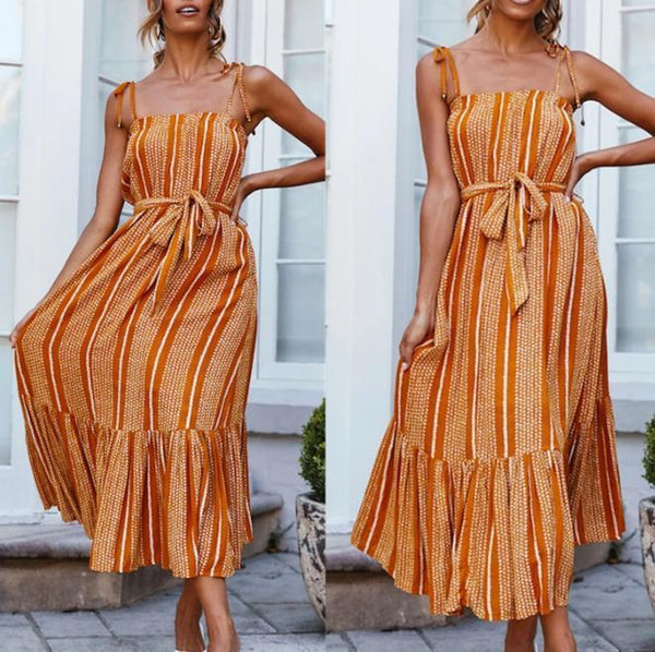 Ruffled Fishtail Strap Beach Dress