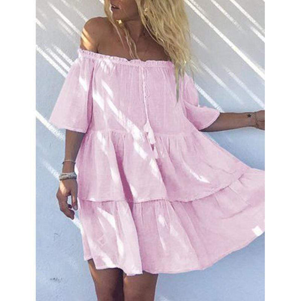 Fashion Sexy Solid Color Off The Shoulder Dress