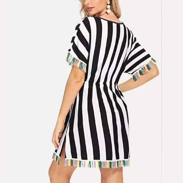 Sexy Fashion V Neck Stripe Short Sleeve Fringe Dress