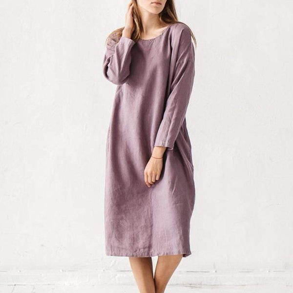 Fashion Solid Color Round Collar Long Sleeves Dress
