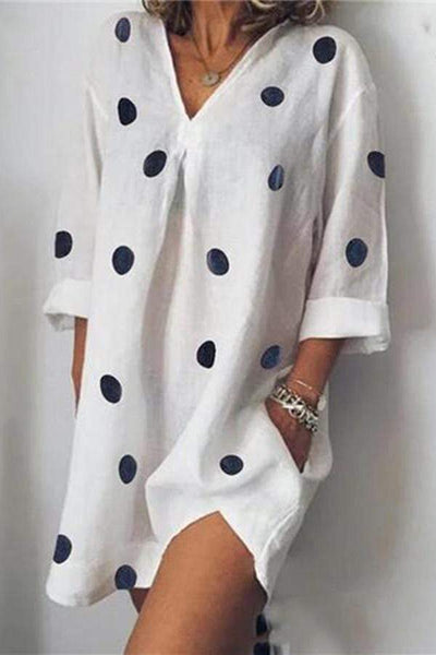 Fashion V Collar Polka Dot Casual Dresses
