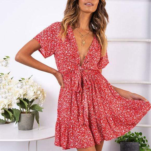 Bohemian  Floral Print Tie With Ruffled Dress