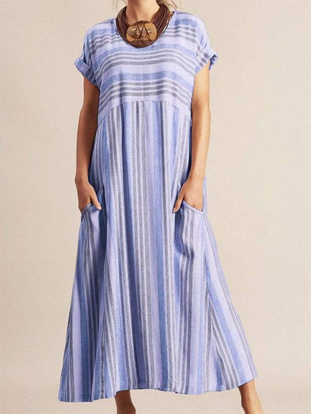 Casual Round Neck Contrast Color Striped Pleated Dress