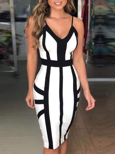 Sexy V Neck Sleeveless Off-Shoulder Bare Back Striped Dress