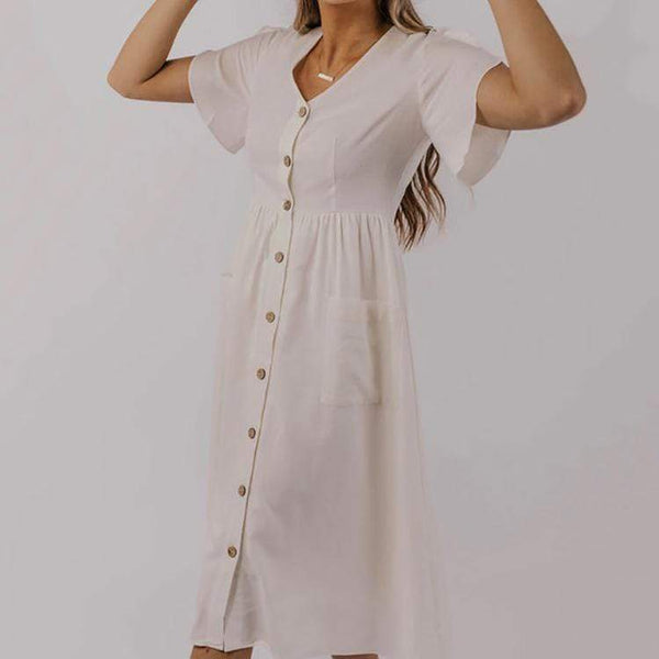 Plain Button Short-Sleeved Dress
