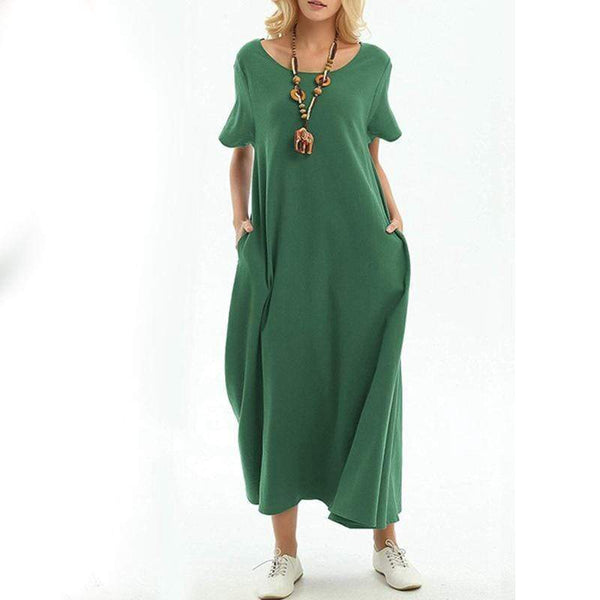 Sexy Solid Color Round Neck Short Sleeve Loose Dress