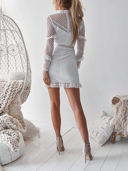Sexy Lace Long Sleeve Ruffled Splicing See-Through Hollow Out Dress