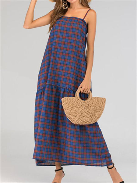 Sexy Plaid Sling Loose Dresses