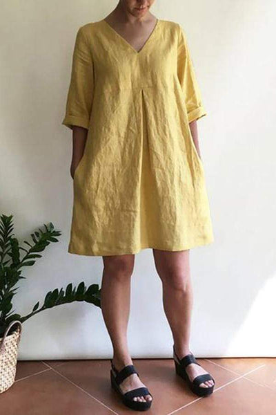 Loose V-Neck Pleated Linen Dress