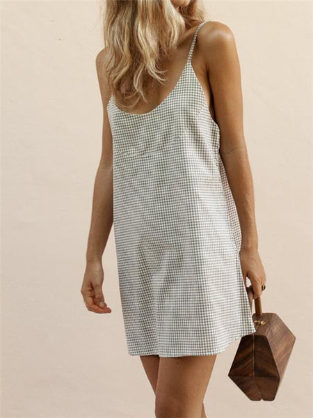 Sexy Deep V Plaid Sling Dresses