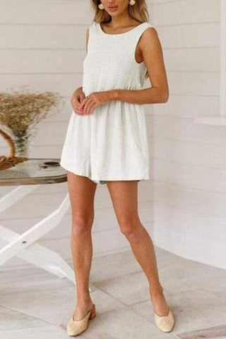 Casual Round Neck Pleated Splicing Sleeveless Bare Back Romper
