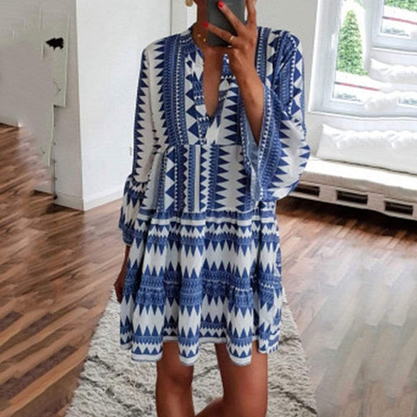Printed Seven-Piece V Neckline Dress