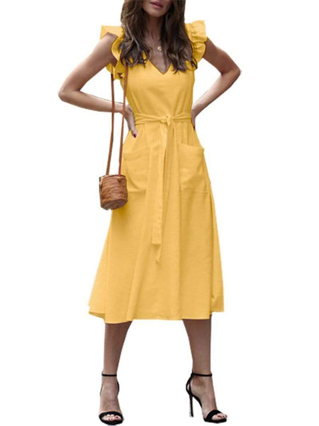 Commuting Belted Ruffled V Neck Patch Pocket Pure Colour Dress