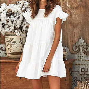 Sexy Solid Color Splicing Short Sleeves Dress