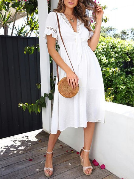 Elegant V Neck Hollow Out Ruffled Pleated Pure Colour Dress