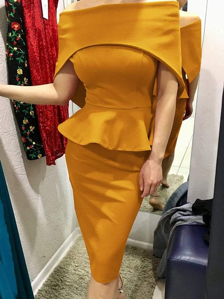 Commuting Boat Neck Ruffled Splicing Off-Shoulder Pure Colour Dress