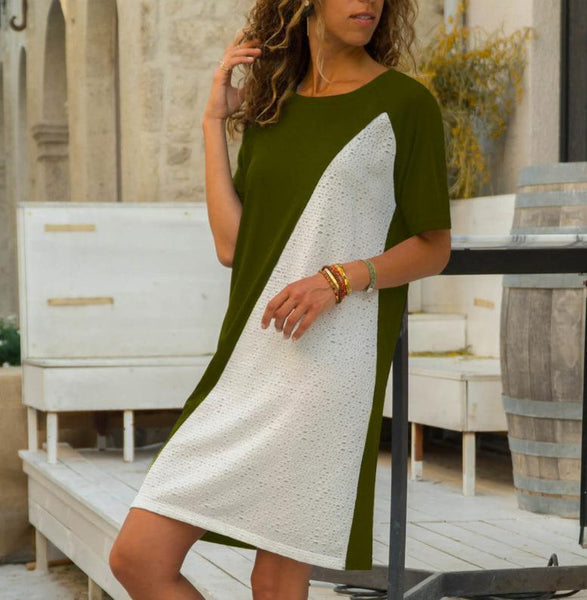 Elegant Contrast Color Round Neck Short Sleeve Dress