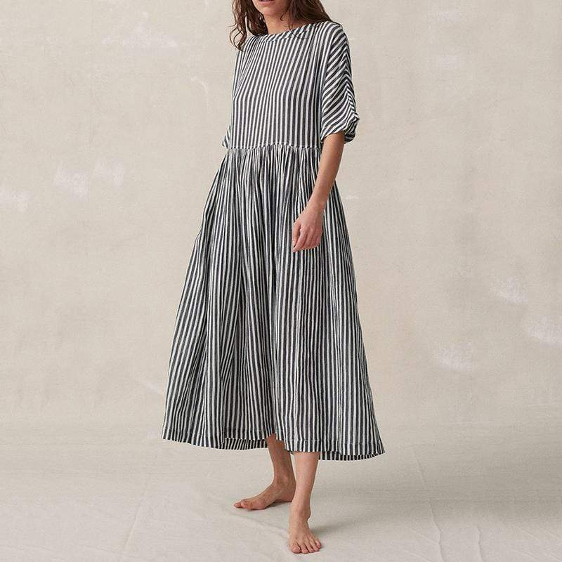 Commuting Pleated Striped Splicing High-Waist Halflong Sleeve Dress