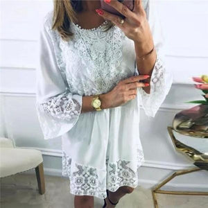 Fashion Lace Stitching Horn Sleeve Casual Dresses