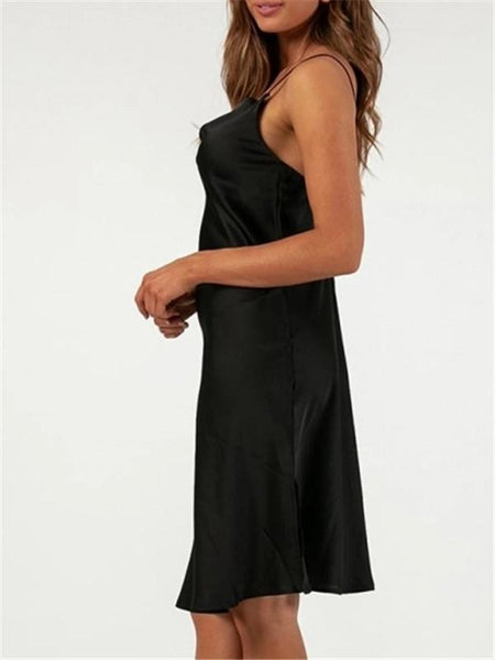 Sexy Low Collar Sling Silk Evening Dresses