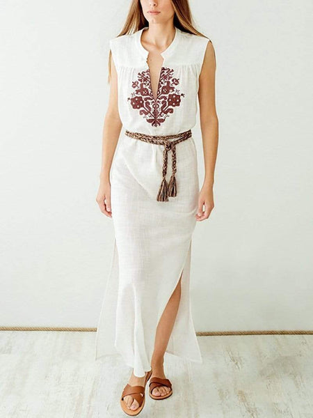 Fashion V Neck   Sleeveless Printed Maxi Dress