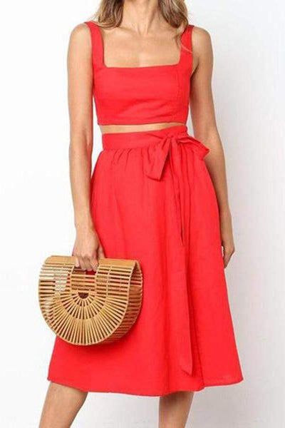 Simple Halter Sexy Halter Vest Short Skirt Suit