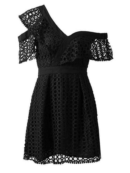 Sexy Pleated Lace Short-Sleeved Evening Dresses