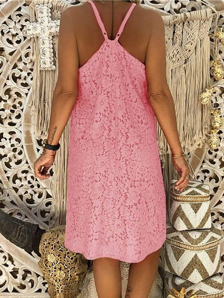 Casual V Neck Lace Hollow Out Bare Back Off-Shoulder Pure Colour Dress