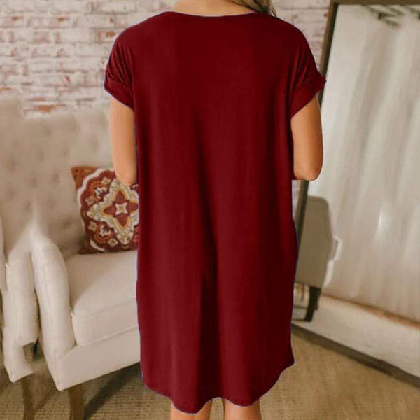 Sexy Solid Color V-Neck Loose Short Sleeves Dress