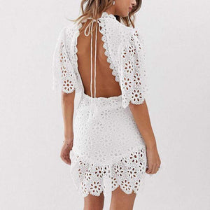 Commuting Lace Hollow Out See-Through Short Sleeve Bare Back Dress