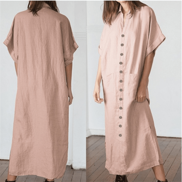 Fashion Solid Color Buttons Casual Dresses