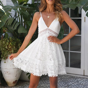Sexy V Neck Hollow Sling Mini Dresses