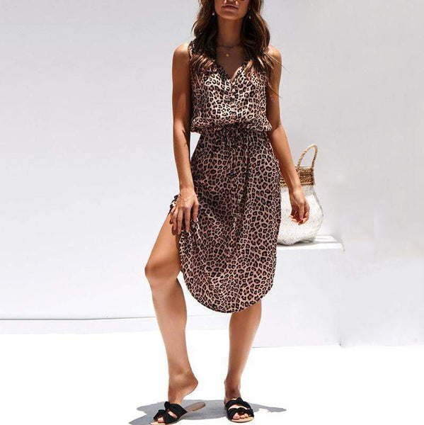 Sexy V Neck Belted Leopard Print Sleeveless Pleated Dress