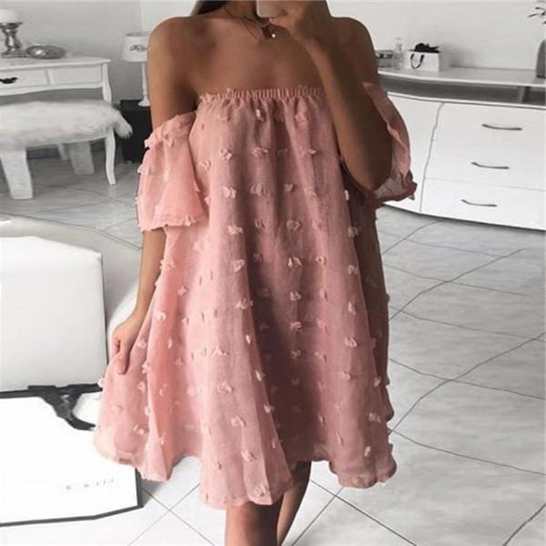 Sexy One Word Collar Loose Casual Dresses