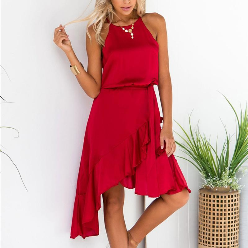Sexy Solid Color Sleeveless Irregular Bare Shoulder Dress