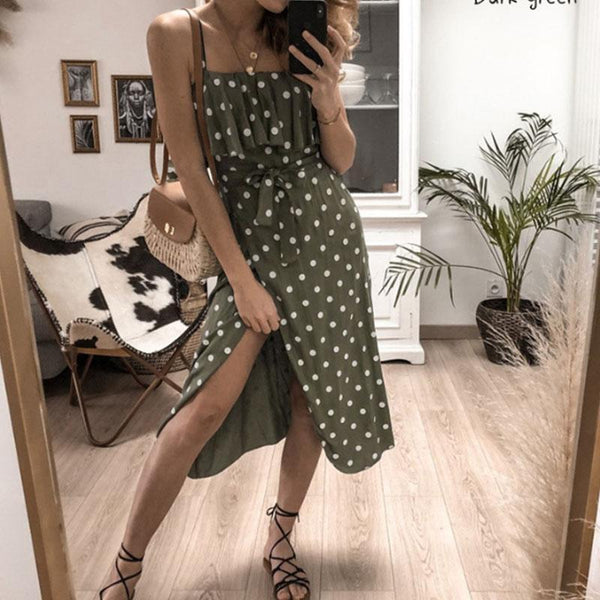 Sexy Wave Point Sleeveless Sling Dress