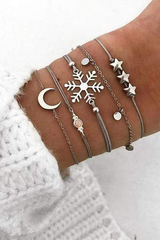 New Trend Snowflake Bracelet Five-Piece Jewelry