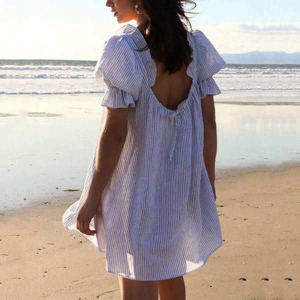 Casual Bare Back Bubble Sleeves Belted Ruffled Striped Dress