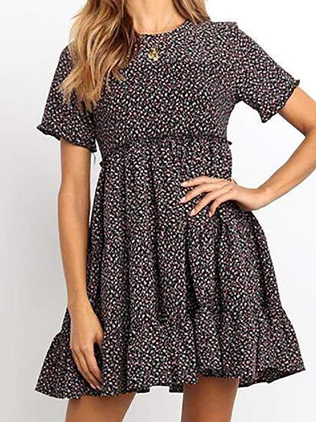 Casual Round Neck Floral Pattern Pleated Short Sleeve Splicing Dress