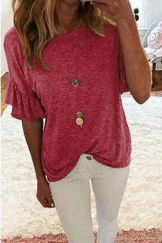 Casual Round Neck Bell Sleeve Pure Colour T-Shirt