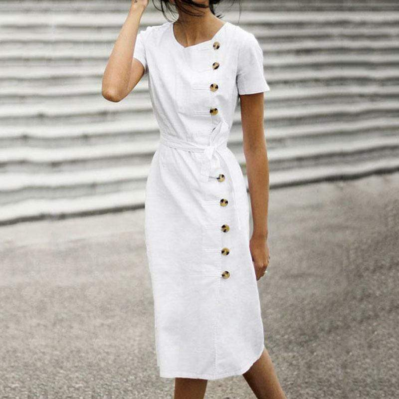 Elegant Pure Color Round Collar With Short-Sleeved Dress
