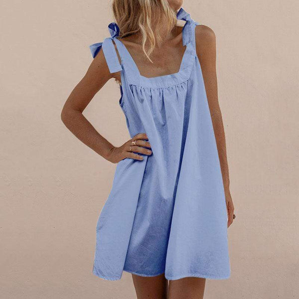 Elegant Pleated Pure Colour Square-Cut Collar Belted Off-Shoulder Dress