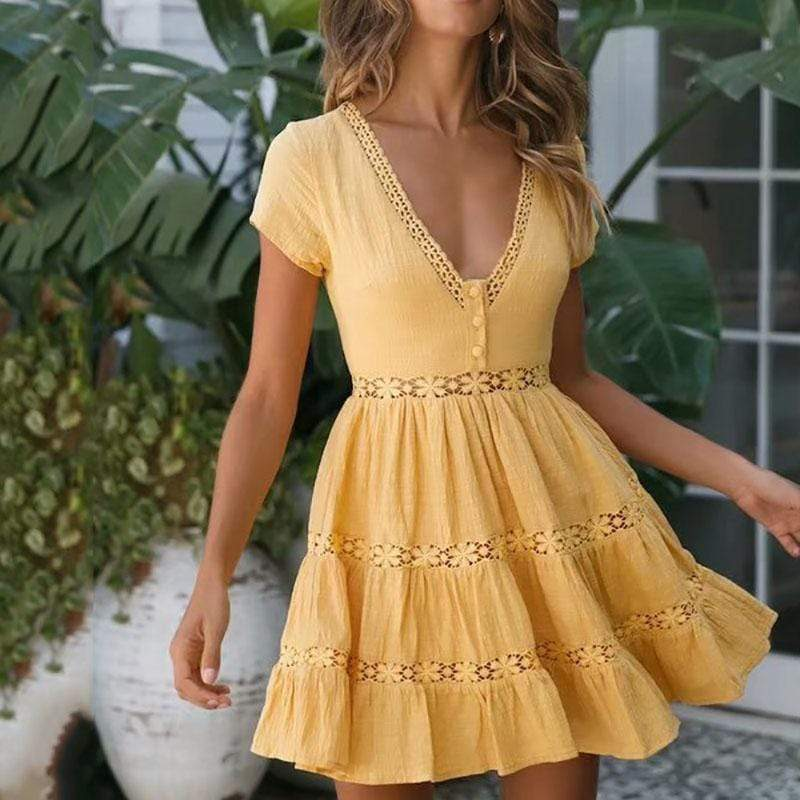 Elegant V Neck Short Sleeve Hollow Out Splicing Pleated Pure Colour Dress