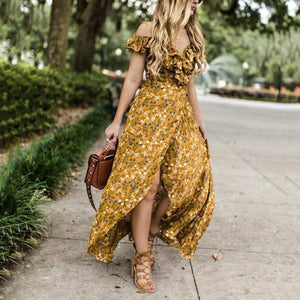 Elegant V Neck Ruffled Bare Back Off-Shoulder Floral Pattern Dress