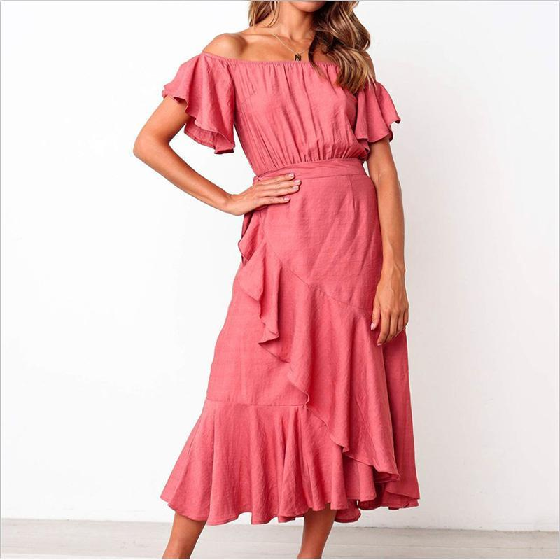 Sexy Solid Color One Word Shoulder Flounces Dress